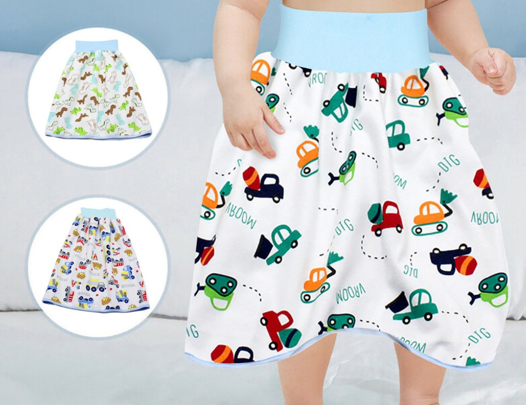 Anti Bed-Wetting Washable Cotton Bamboo Fiber Waterproof Bed Clothes CY2SIDE Unicorn Diaper Skirt Short 2 in 1 for Kids Diaper Skirt Potty Training for Toddlers for 2-4 Year Old Baby Girls Boys
